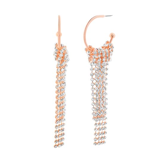 Imagen de Steve Madden Women's Open Hoop Rhinestone Yellow Gold-Tone Chandelier Earrings