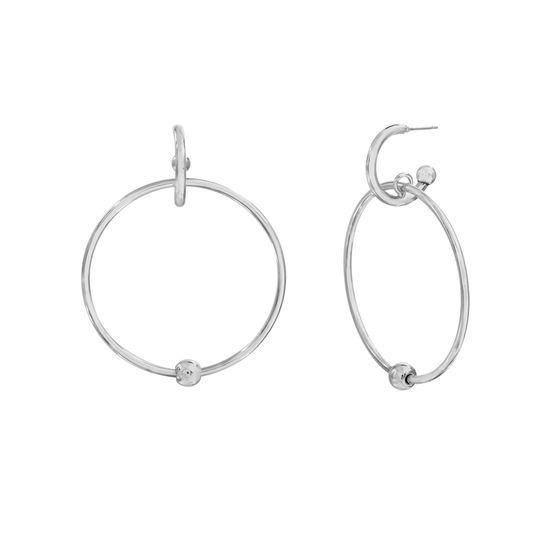 Imagen de Steve Madden Women's Front Facing Hoop Silver-Tone Dangle Earrings