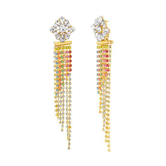 Imagen de Steve Madden Women's Floral Slant Chandelier Yellow Gold-Tone Earrings