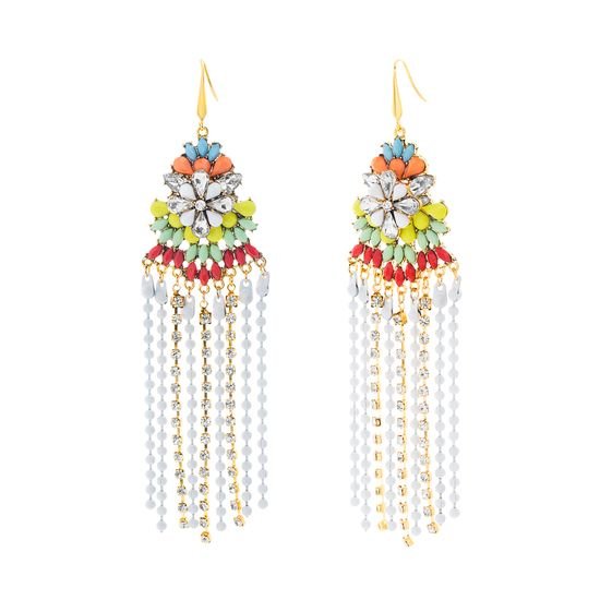 Imagen de Steve Madden Women's Floral Chandelier Earrings Silver/Red/Gold One Size