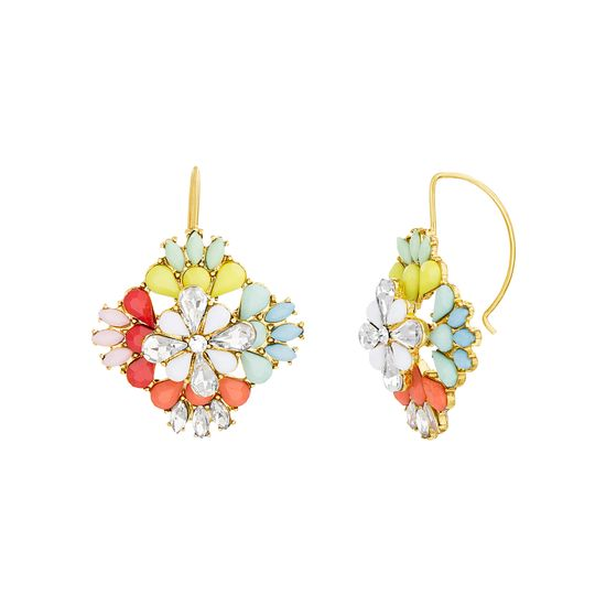 Imagen de Steve Madden Floral Jeweled Statement Earrings Gold/Red/Turquoise One Size