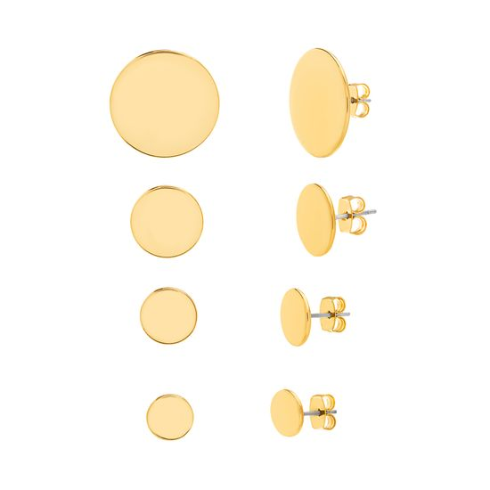 Imagen de Steve Madden Women's Four Piece Yellow Gold-Tone Circle Post Earring Set