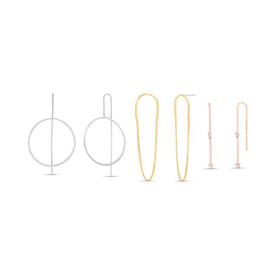 Imagen de Steve Madden Women's Dangle Hoop Multi Chain Earrings Multi One Size