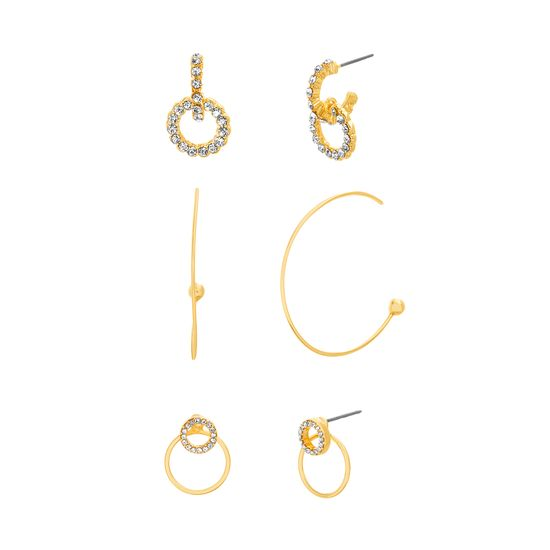 Picture of Steve Madden Women's Three Pair Hoop and Stud Yellow Gold-Tone Earrings Set