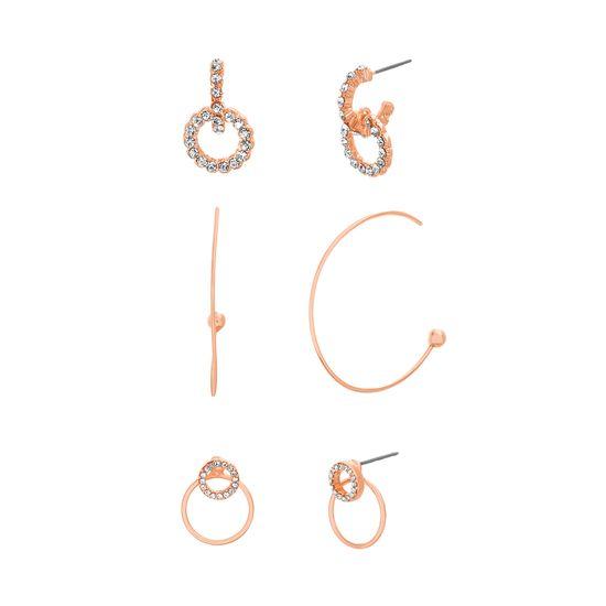 Imagen de Steve Madden Women's Three Piece Yellow Gold-Tone Hoop Earring Set