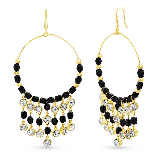 Imagen de STEVE MADDEN Yellow Gold Tone And Black Beaded Front Hoop Dangle Earrings For Women