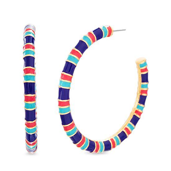 Imagen de Steve Madden Women's Resin Striped Open Hoop Post Earrings Blue/Red One Size