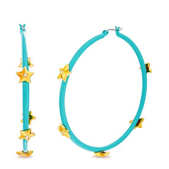 Imagen de Steve Madden Women's Rhinestone Star Studded Large Aqua Hoops in Yellow Gold-Tone Earrings, One Size