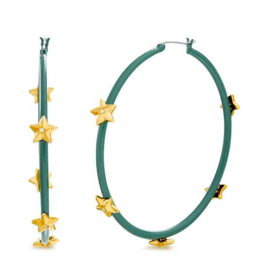 Imagen de Steve Madden Women's Rhinestone Star Studded Large Green Hoops in Yellow Gold-Tone Earrings, One Size