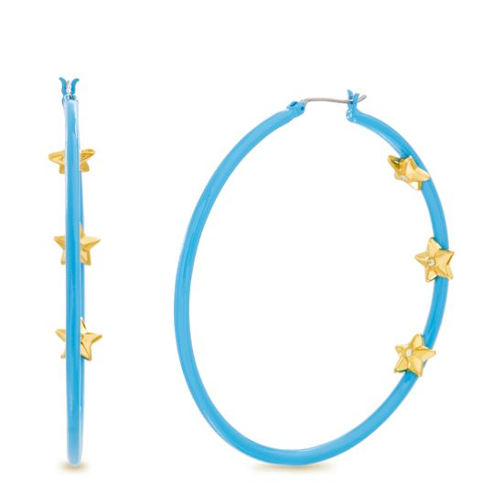Imagen de Steve Madden Women's Rhinestone Triple Star Inside Stud Large Aqua Hoops in Yellow Gold-Tone Earrings, One Size