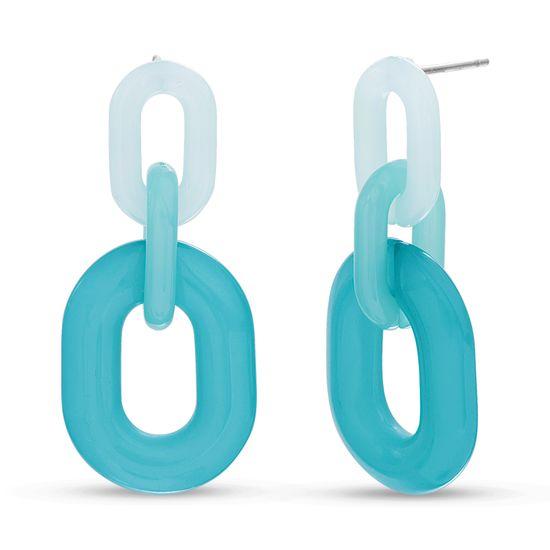 Imagen de Steve Madden Women's Blue and Purple Oval Link Design Silver-Tone Dangle Post Earrings, One Size