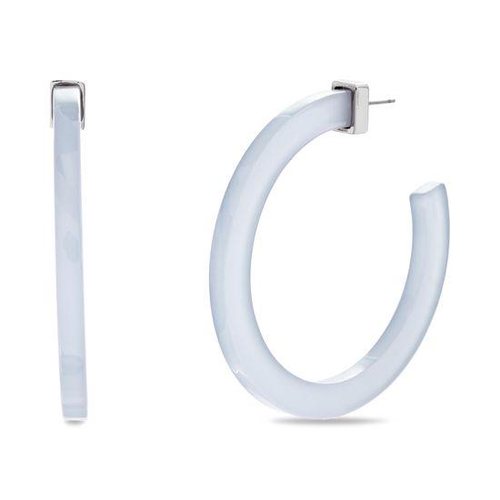 Imagen de Steve Madden Women's White Flat Open Hoop Silver-Tone Post Earrings, One Size