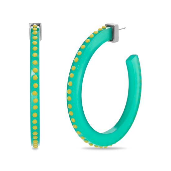 Imagen de Steve Madden Women's Dotted Yellow Rhinestone Design Green Open Hoop Post Earrings, One Size