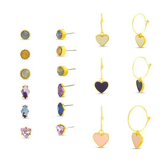 Imagen de Steve Madden 9 Pair Stud Earrings for Women (Heart Charm Hoop)