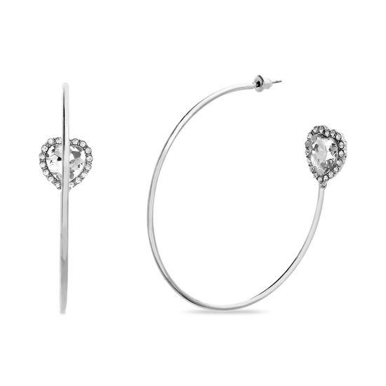 Imagen de Steve Madden Heart Rhinestone Hoop Earrings Silver One Size