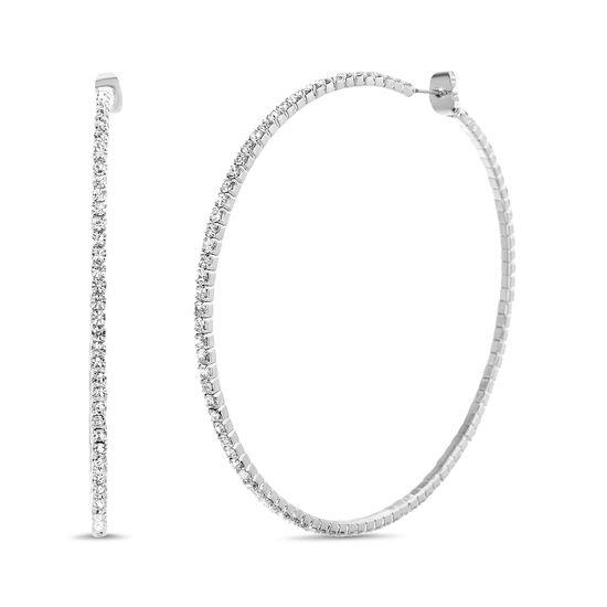 Imagen de Steve Madden Rhinestone Hoop Earrings for Women (White)