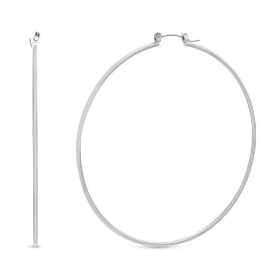 Imagen de Steve Madden Hinge Wire Hoop Earrings Silver One Size