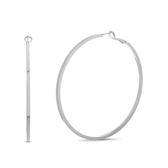 Picture of Steve Madden Post Clip Hoop Earrings Silver One Size