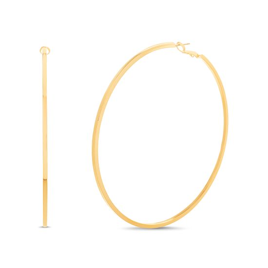 Picture of Steve Madden Squared Hoop Earrings for Women (Large Yellow)