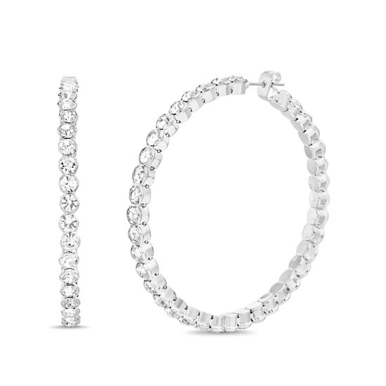Imagen de Steve Madden Bezel Set Rhinestone Hoop Earrings for Women (White)