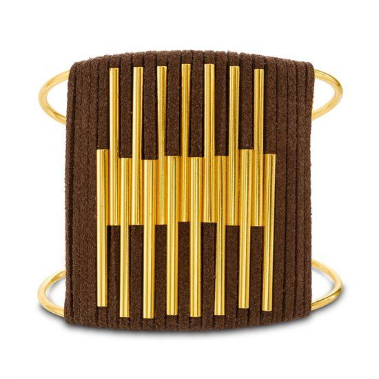 Imagen de Steve Madden Yellow Gold Tone Bar Design Brown Leather Wrap Wide Bangle Bracelet for Women (Brown)