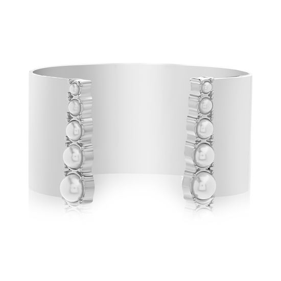 Imagen de Steve Madden Silver-Tone Stainless Steel Graduated Pearl Solid Open Cuff Bangle