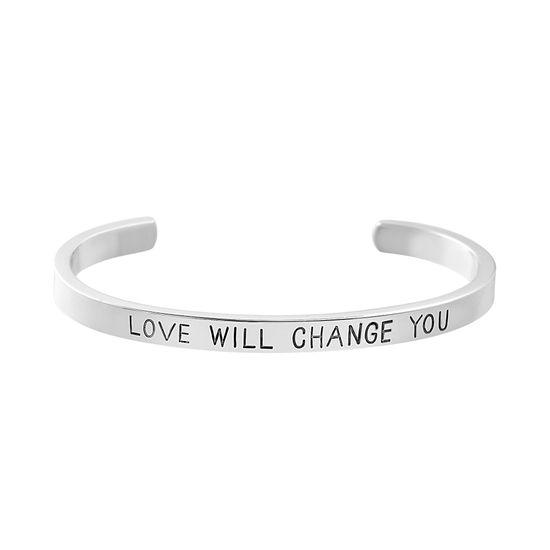 "Imagen de Steve Madden "" Love Will Change You Silver-Tone Bangle Cuff Bracelet for Women (Love)"