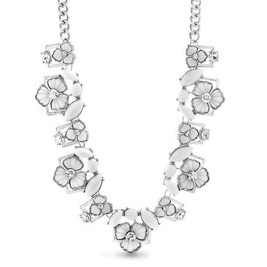 "Imagen de Steve Madden 21"" Silver Tone Rhinestone Floral Collar Statement Necklace for Women"