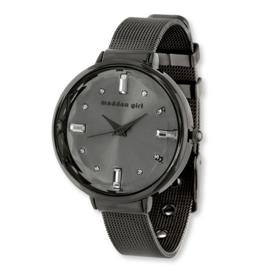 Imagen de Steve Madden Black IP Plated Alloy Case Crystal Marker Black Dial Flat Mesh Band Watch