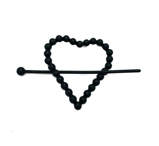 Imagen de Steve Madden Women's Textured Heart Shaped Black-Tone Hair Pin