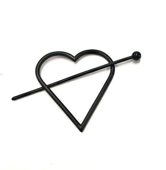Imagen de Steve Madden Women's Heart Shaped Black-Tone Hair Pin