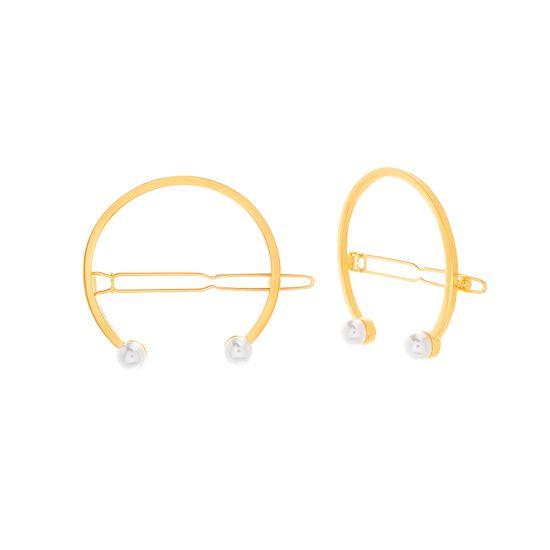 Imagen de Steve Madden Women's Open Circle Pearl End Hair Pins Gold One Size