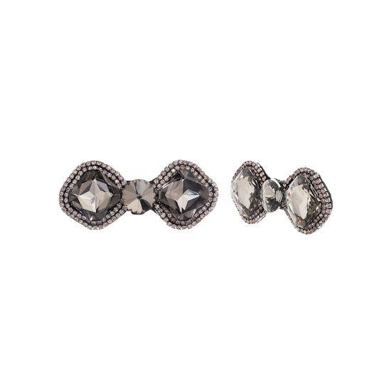 Imagen de Steve Madden Women's Rhinestone Bow Design Gunmetal-Tone Shoe Clip Set