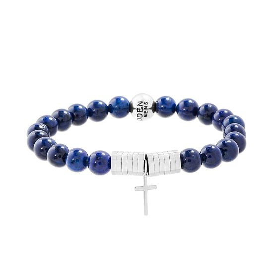 Picture of Steve Madden Stainless Steel Polished Oxidized Cross Charm Stretch Blue Beaded Bracelet for Men