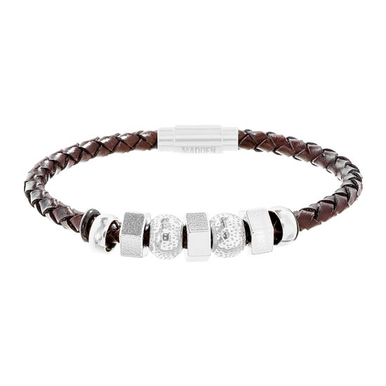 Imagen de Steve Madden Wavy Station Braided Brown Leather Bracelet in Black IP Stainless Steel