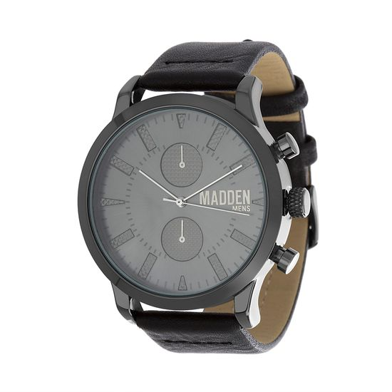 Picture of Steve Madden Black IP Plated Alloy Case Multifunction Black Dial Black Leather Strap Watch