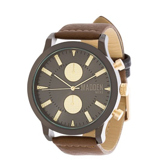 Imagen de Steve Madden Black IP Plated Alloy Case Multifunction Brown & Gold Dial Brown Leather Strap Watch