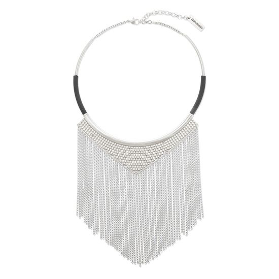 Imagen de Steve Madden Silver-Tone Textured Center Triangle with Curb Chain Fringe Necklace