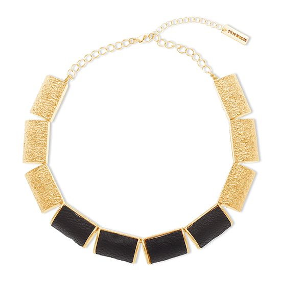 Imagen de Steve Madden Gold-Tone Textured Rectangle with Black Leather Station Necklace