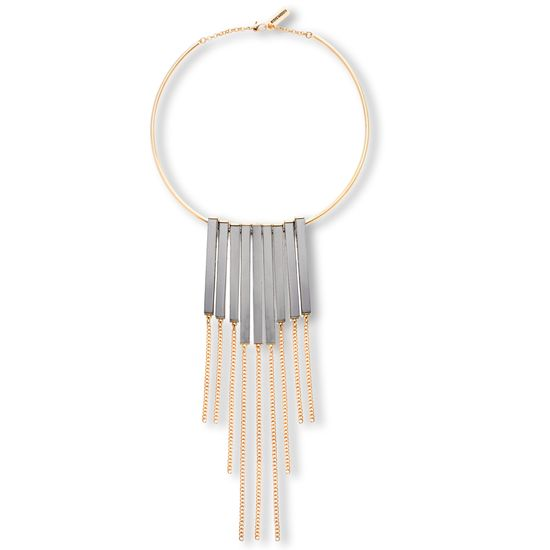 Picture of Steve Madden Gold-Tone Collar Dangling Hematite Bar/Curb Chain Fringe Necklace