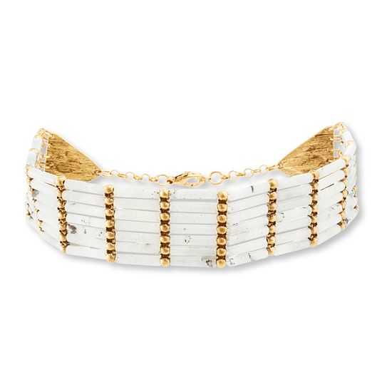 Imagen de Steve Madden Burnished Gold-Tone Multi Row Gray Beaded Bar Choker Necklace