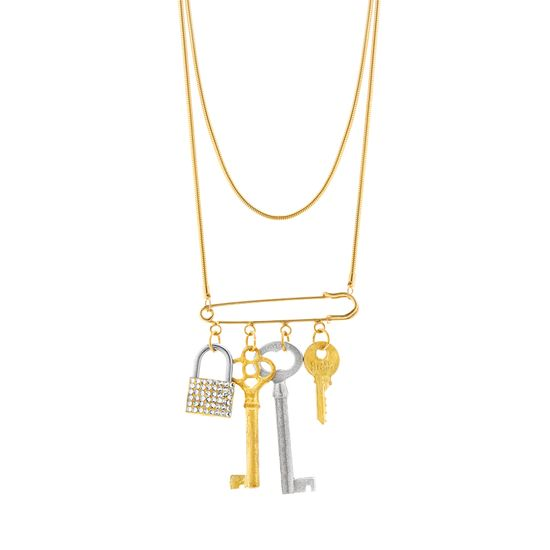 Imagen de Steve Madden Women's Tricolor Clustered Key Lock Pin Motif Charm Layered Chain Necklace Silver/Yellow Gold-Tone One Size