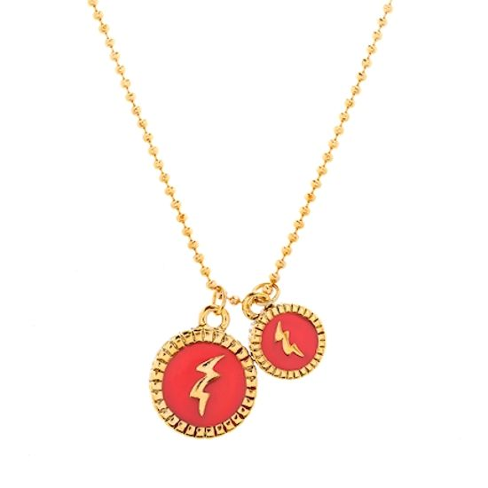 Imagen de Steve Madden Women's Thunder Pendants Ball Chain Necklace Yellow Gold-Tone/Red One Size