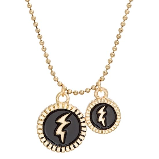Imagen de Steve Madden Yellow Gold Tone Black Lighting Bold Disc Double Pendant Necklace for Women (Black)