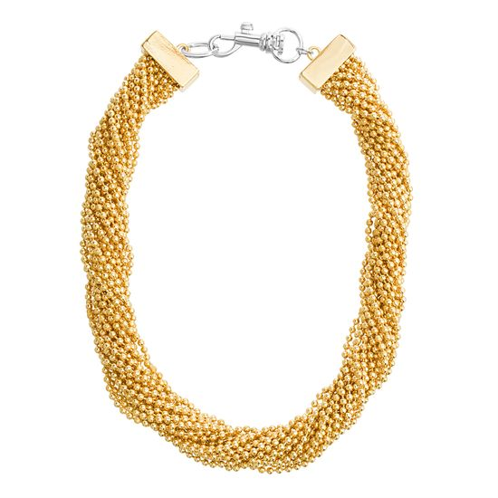 Imagen de Steve Madden Women's Twisted Multi Chain Yellow Gold-Tone Collar Necklace