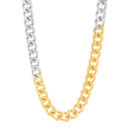 "Imagen de Steve Madden 20"" Silver and Yellow Gold Tone Curb Chain Collar Necklace for Women"