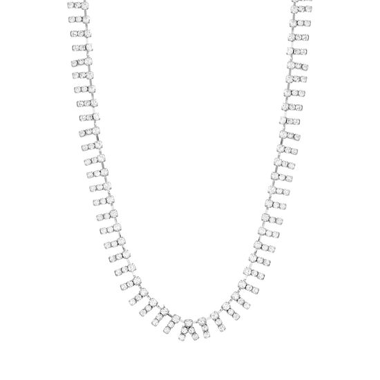 Imagen de Steve Madden Silver-Tone Rhinestone Bar Design Collar Necklace for Women
