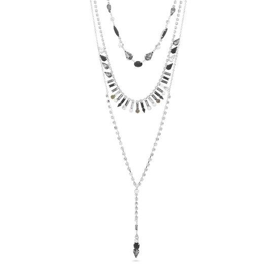 Imagen de Steve Madden Gunmetal-Tone Red and Pink Rhinestone Triple Layered Necklace for Women