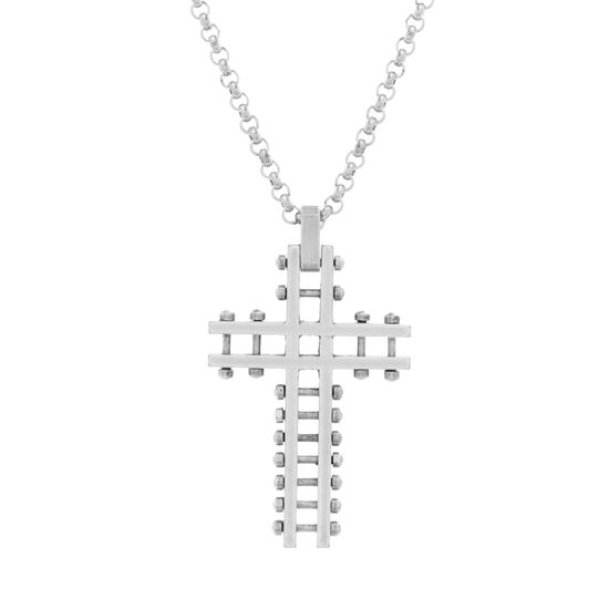 Imagen de Steve Madden Silver-Tone Stainless Steel Men's Oxidized Open Work Beaded Cross Pendant 28 Rolo Chain Necklace