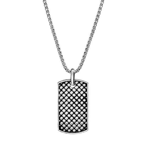 Imagen de Steve Madden Men's Checkerboard Design Dog Tag Necklace in Stainless Steel Silver/Black One Size